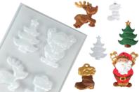 Moule 4 motifs Noël - Moules pour plâtre, savon, béton ... - 10doigts.fr