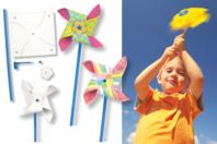 Moulins à vent à décorer - Kit pour 8 réalisations - Support blanc - 10doigts.fr