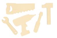 Formes outils en bois à décorer - Set de 5 - Supports plats - 10doigts.fr