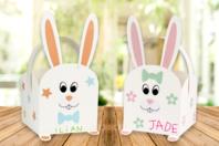 Paniers lapins + gommettes - Lot de 4 - Boîtes en carton - 10doigts.fr
