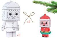 Paper toy Père Noël - Supports pré-dessinés - 10doigts.fr