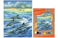 Tableau peinture au Numéro - Dauphins - Peinture par numéros - 10doigts.fr