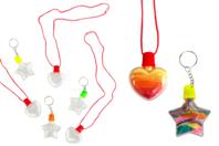 Kit porte clefs et pendentifs à remplir - 6 flacons - Porte-clés pour bijoux - 10doigts.fr