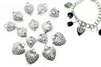 Perles char'ms cœurs argenté - 14 charm's - Décorations Coeurs - 10doigts.fr