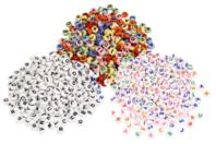 Perles alphabet assorties - Lettres et couleurs assorties - Perles Alphabet - 10doigts.fr