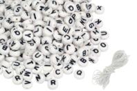 Perles rondes alphabet noir - 300 perles - Perles Alphabet - 10doigts.fr