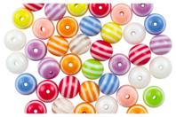Perles rondes bayadères - 62 perles - Perles acrylique - 10doigts.fr