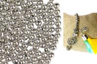 Perles rondes métallisées argentées - 1500 perles - Perles en plastique - 10doigts.fr