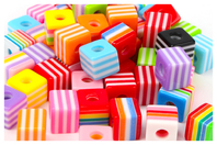 Perles cubes bayadère - 50 perles - Perles acrylique - 10doigts.fr