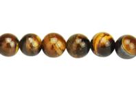 Perles Œil de Tigre - 48 perles - Perles Lithothérapie - 10doigts.fr