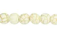 Perles Howlite blanc - 48 perles - Perles Lithothérapie - 10doigts.fr