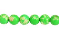 Perles Jaspe Impérial vert - 48 perles - Perles Lithothérapie - 10doigts.fr