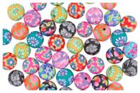 Perles rondes Millefiori - 50 perles - Perles en pâte polymère - 10doigts.fr