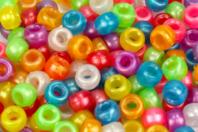Perles nacrées rondes à gros trou - 160 perles - Perles en plastique - 10doigts.fr