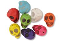 """Perles """"tête de mort"""" en magnésite - 8 perles - Pierres semi précieuses et minérales - 10doigts.fr"""