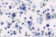 Coupon de tissu imprimé fleurs bleues - 43 x 53 cm - Coupons de tissus - 10doigts.fr
