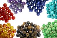 Perles gemmes naturelles  - Rang de 48 perles - Perles Lithothérapie - 10doigts.fr