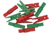 Pinces à linge vertes et rouges - Set de 24 - Pinces à linge fantaisie - 10doigts.fr