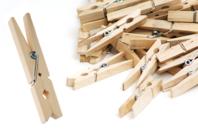 Pinces à linge en bois - Pinces à linge en bois brut - 10doigts.fr