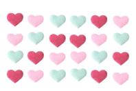Stickers cœurs en tissu molletonné - 24 coeurs - Décorations Coeurs - 10doigts.fr