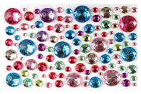 Strass adhésifs ronds multicolores - 106 strass - Strass - 10doigts.fr