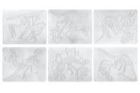 Plaques dessin relief squelettes de dinosaures - Set de 6 - Plaque relief - 10doigts.fr