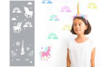 Pochoir motifs licorne et arc-en-ciel - 15 x 40 cm - Pochoirs frises - 10doigts.fr