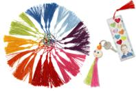 Pompons longs 8 couleurs - 24 pièces - Rubans et cordons - 10doigts.fr