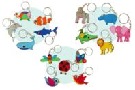 Porte-clés animaux en bois - Set de 5 - Porte-clefs en bois - 10doigts.fr