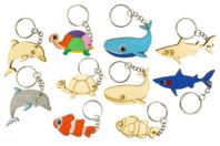 """Porte-clés en bois """"Animaux de la mer"""" - 5 animaux - Porte-clefs en bois - 10doigts.fr"""