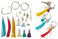 Porte-clés pompons colorés - Kit 3 couleurs - Kits bijoux - 10doigts.fr