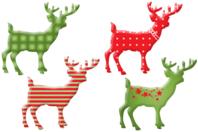 Rennes de Noël en bois décoré - Set de 8 - Motifs peints - 10doigts.fr