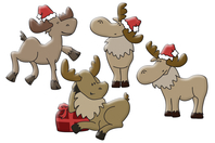 Rennes rigolos Noël en bois décoré - Set de 8 - Motifs peints - 10doigts.fr