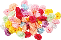 Roses en satin - Set de 50 - Embellissements fleurs et coeurs - 10doigts.fr