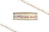 """Ruban """"Fait avec amour"""" - 2 mètres - Rubans et cordons - 10doigts.fr"""