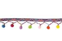 Galon multicolore pompons perles - 1 m - Rubans et cordons - 10doigts.fr