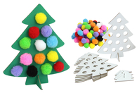 Sapins à pomponner - Kit pour 6 réalisations - Kits d'activités Noël - 10doigts.fr