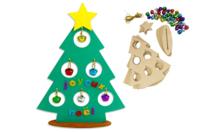 Sapins à grelots à fabriquer - Lot de 6 - Supports de Noël en bois - 10doigts.fr