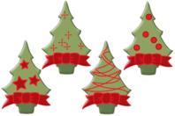 Sapins de Noël en bois décoré - Set de 8 - Motifs peints - 10doigts.fr