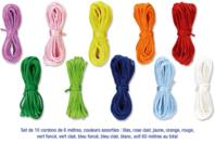 Cordons en satin couleurs vives - 10 cordons de 6 m - Fils en Satin et queue de rat - 10doigts.fr