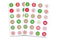 Stickers chiffres calendrier de l'Avent - 48 gommettes - Gommettes Alphabet, messages - 10doigts.fr