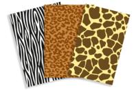 Papiers à encoller pelage animaux - 3 feuilles - Papiers Vernis-collage - 10doigts.fr