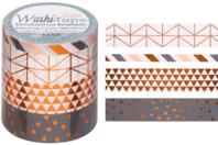 Masking tape géométriques - 4 rouleaux motifs métallisés - Adhésifs colorés et Masking tape - 10doigts.fr