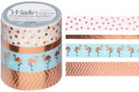 Masking tape rosé - 4 rouleaux motifs métallisés - Adhésifs colorés et Masking tape - 10doigts.fr