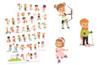 Gommettes enfants sportifs - 2 planches - Gommettes Histoires et décors - 10doigts.fr