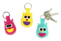 Porte-clés hiboux en feutrine - Set de 6 - Kits Mercerie - 10doigts.fr