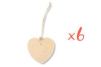 Étiquettes cœur en bois avec cordon et perle - Lot de 6 - Divers - 10doigts.fr