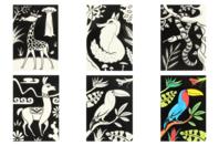 Cartes coloriages velours animaux - 8 cartes - Support pré-dessiné - 10doigts.fr