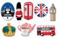 """Motifs """"Londres"""" en bois décoré - Set de 8 - Motifs peints - 10doigts.fr"""