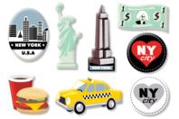 """Motifs """"New York"""" en bois décoré - Set de 8 - Motifs peints - 10doigts.fr"""